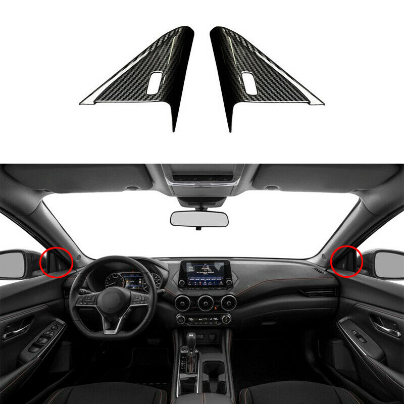 Carbon Fiber A Post Front Triangle  Cover  Trim For Nissan Sylphy 2020-2022 Carbon black