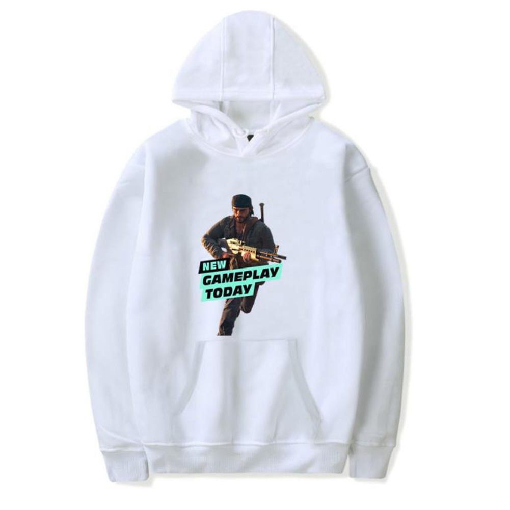 Men Fashion Game Figure Printing Hooded Sweatshirt White A_XXXL