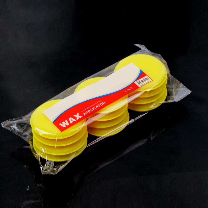 12 Pcs Vehicle Wax Polishing Foam Hand Sponge Soft Wax Padded Sponge Yellow Buffer Detail Care Wash Clean Towel