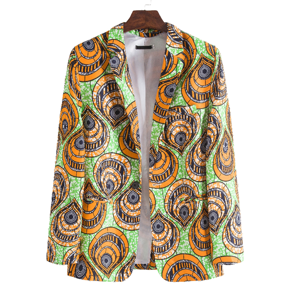 Men Casual Suit African Ethnic Style Printing Single Breasted Casual Suit XF208_M