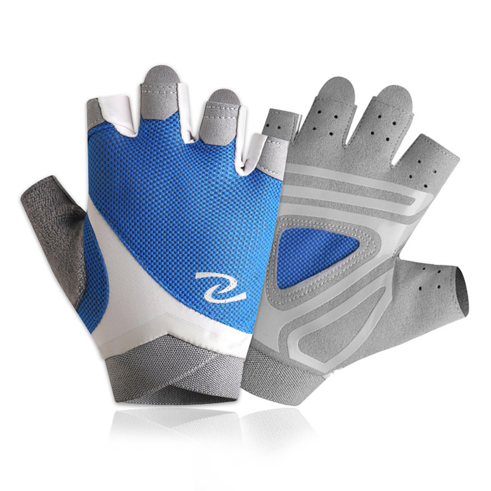 1pair Gloves For Hiking Fitness Riding Yoga Half  Finger Hand  Protector Royal blue_l