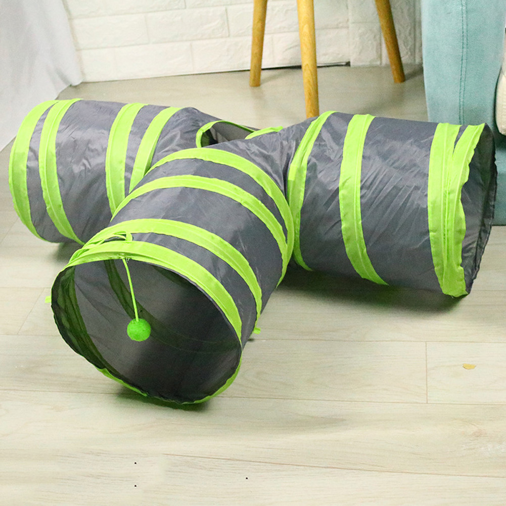 T Shaped Pet Folding Tunnel Interative Scratch Resistant Puzzle Toy for Cats Gray-green_80*25*30cm