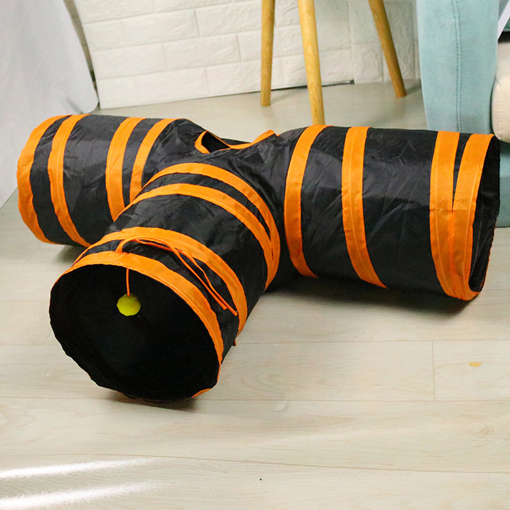 T Shaped Pet Folding Tunnel Interative Scratch Resistant Puzzle Toy for Cats Orange black_80*25*30cm