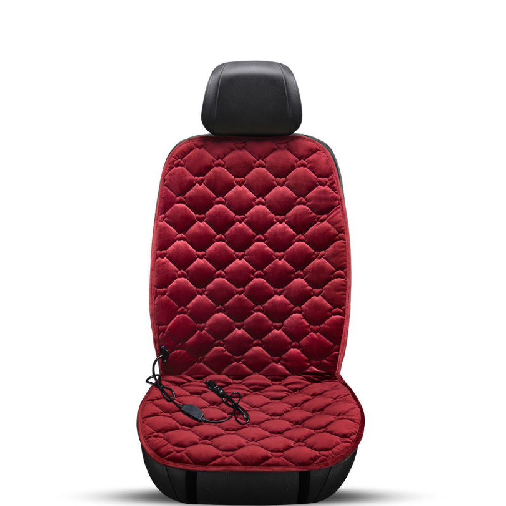 12V Heating Car Seat Cover Front Seat Cushion Plush Heater Winter Warmer Control Electric Heating Protector Pad Love Wine Red-Single Seat