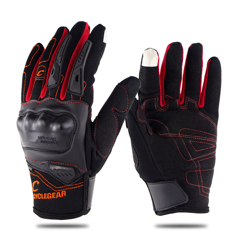 Motorcycle Riding Gloves Anti-slip  Anti-fall Racing Knight Gloves  Touchscreen Safe Gloves red_L