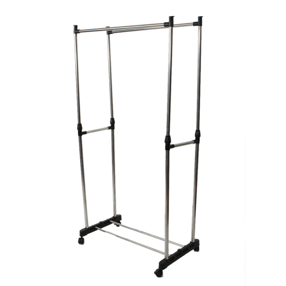 [US Direct] Original Zimtown Clothes Rack Dual-bar Vertically-stretching Stand Clothes Rack with Shoe Shelf (Silver)