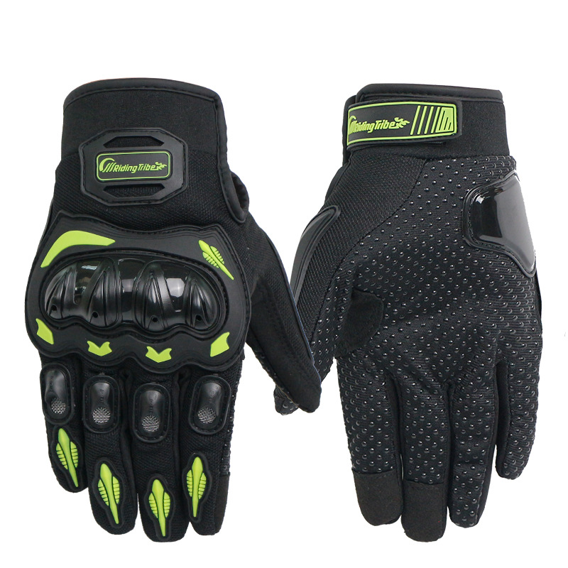 Unisex Motorcycle Gloves Summer Breathable Moto Riding Protective Gear Non-slip Touch Screen Guantes Green L