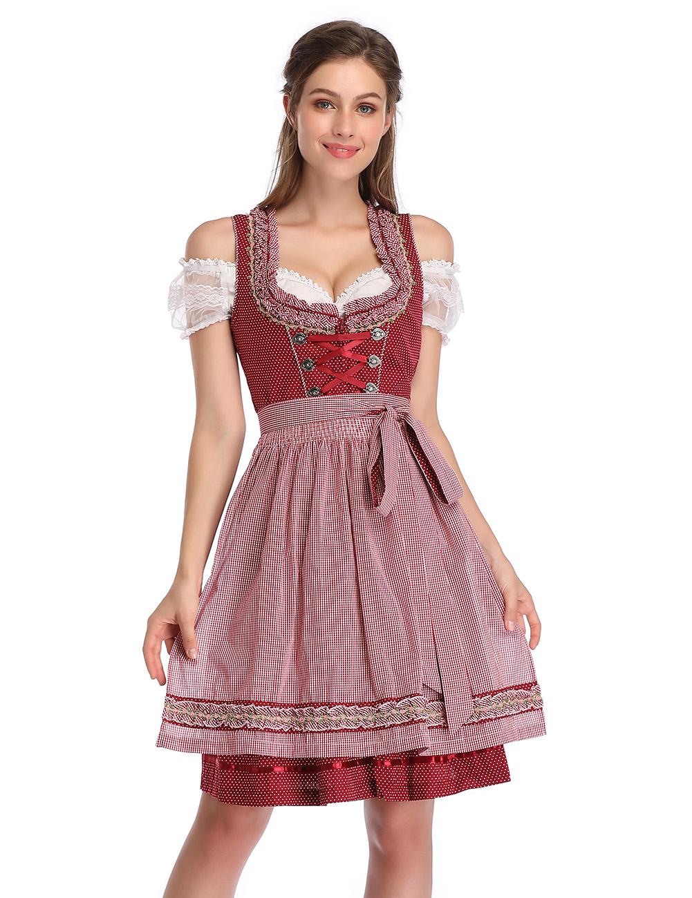 KOJOOIN Women's Vintage 3-Piece Embroidery Floral German Party Oktoberfest Dirndl Dress