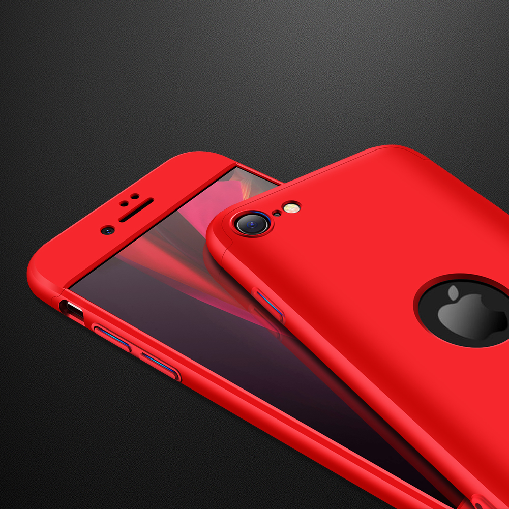 For Iphone SE 2020 360Dgree Full Protection Phone Case Protector Shockproof PC Phone Back Cover red