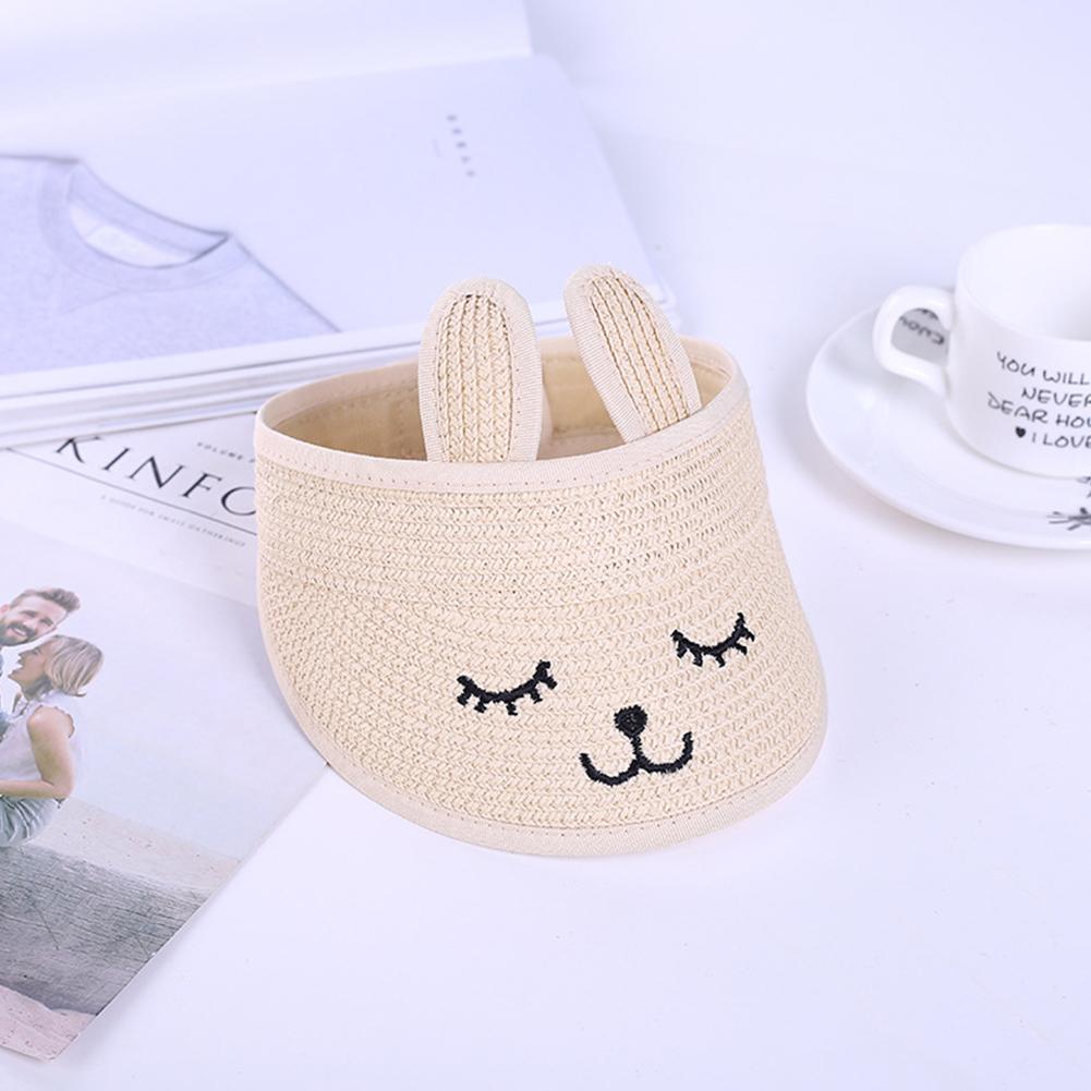 Summer Kids Sunscreen Folding Cartoon Rabbit Ear Shape Hat Beige_48-52cm