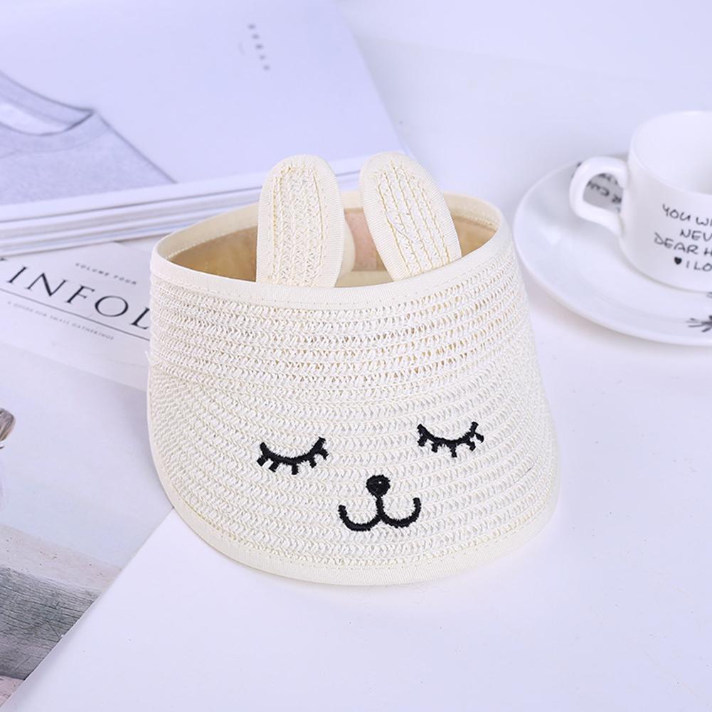 Summer Kids Sunscreen Folding Cartoon Rabbit Ear Shape Hat Milk white_48-52cm