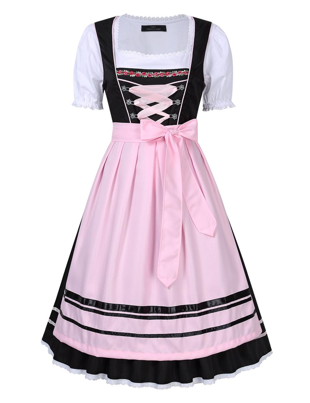 Women's Oktoberfest Holiday Three Piece Dress Suit Pleated Lace Trim Stitching Short Sleeve Dresses