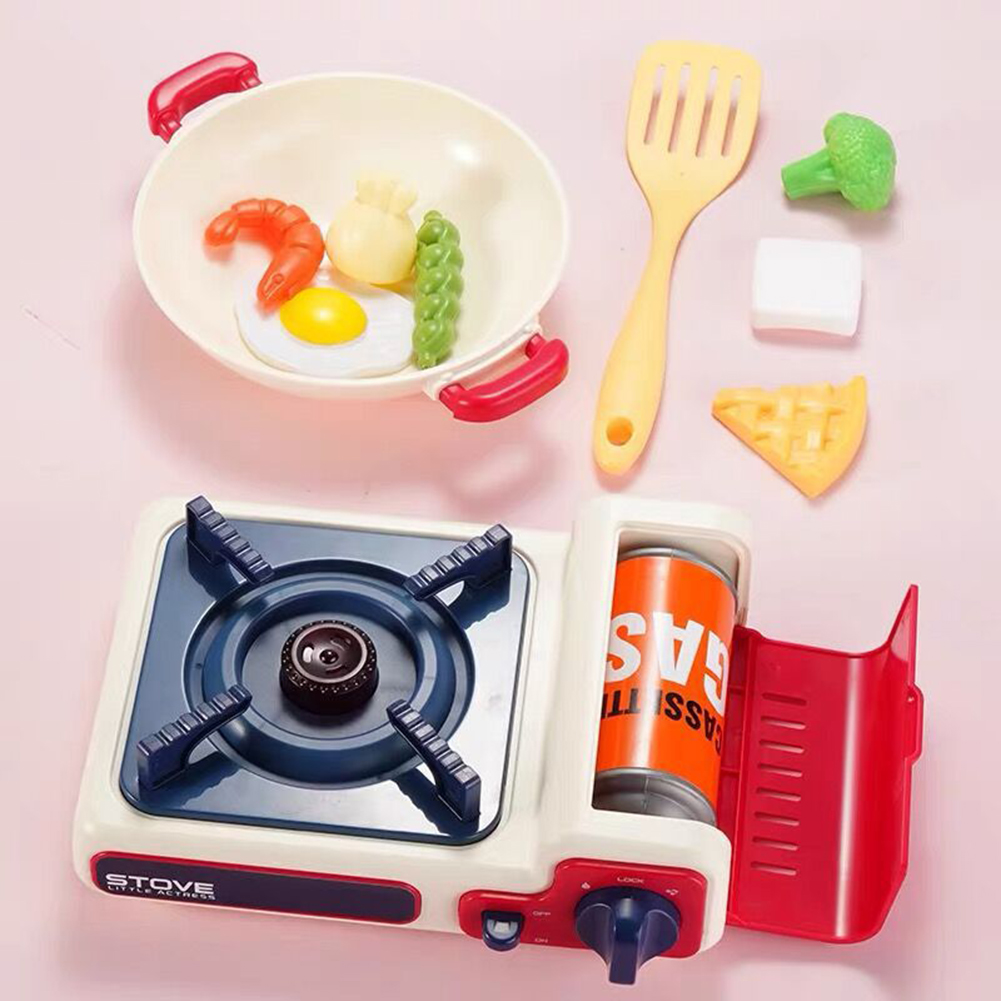 Children Play House Simulation Kitchenware Electric Music Gas Stove Fruit Toy Kitchen Cooking Set Gas stove 11PCS