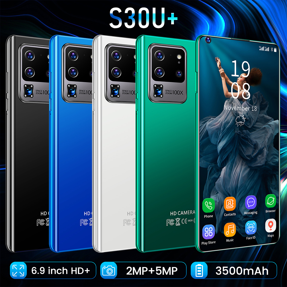 H40 S30U+ 7.3 Inch Large Screen Smartphone 2gb+16gb Facial Recognition Smart Phone Blue (US Plug)