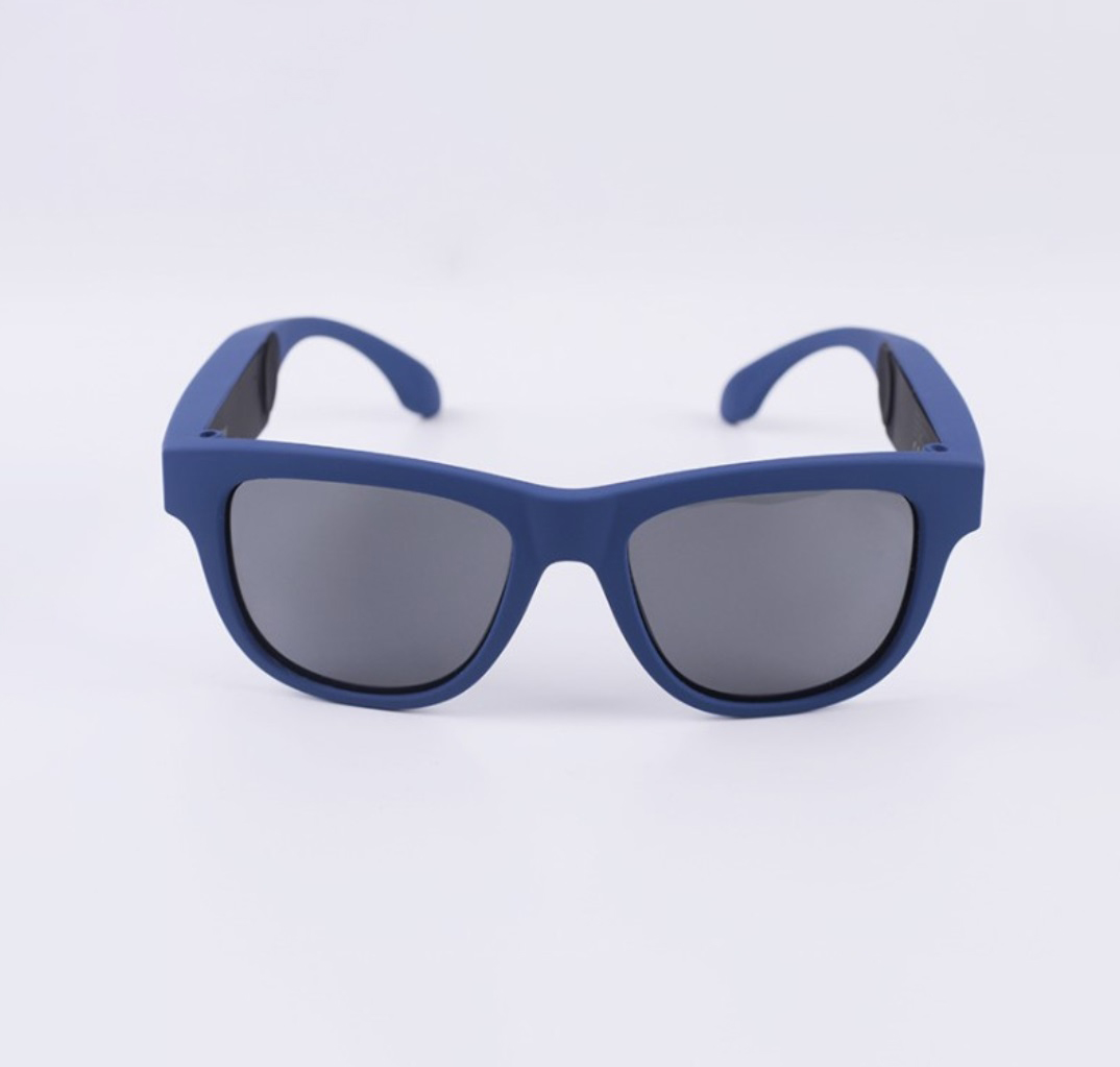 G1 Bone Conduction Music Playing Headset Polarized Glasses Sunglasses Blue frame black lenses