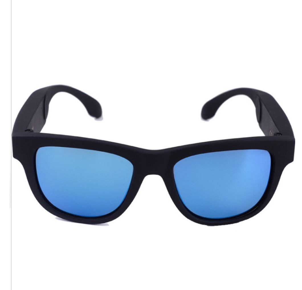 G1 Bone Conduction Music Playing Headset Polarized Glasses Sunglasses Black frame blue lens