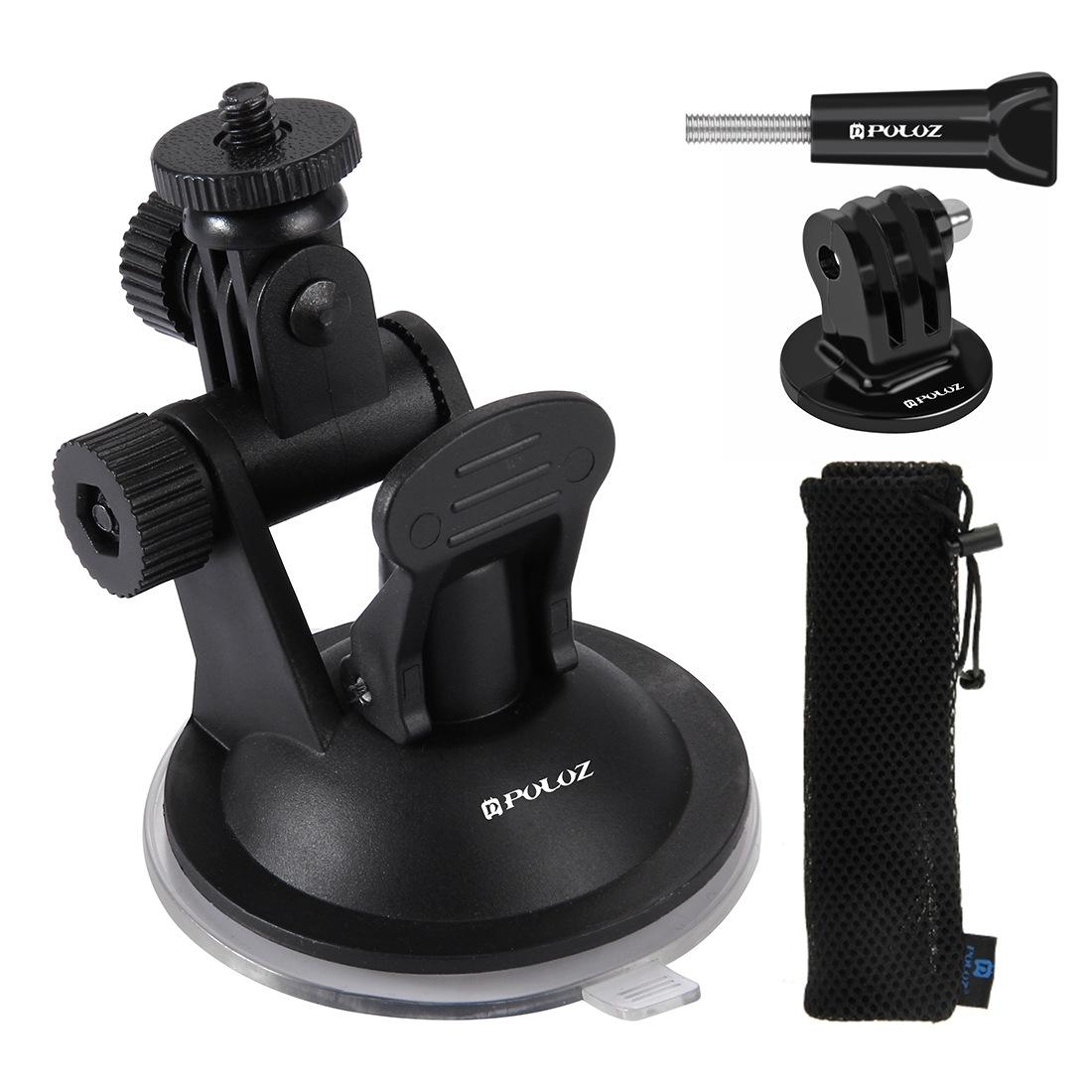 Car Sucker Bracket for GoPro DJI Osmo Action Camera Tripod Mount Record Holder Stand  black