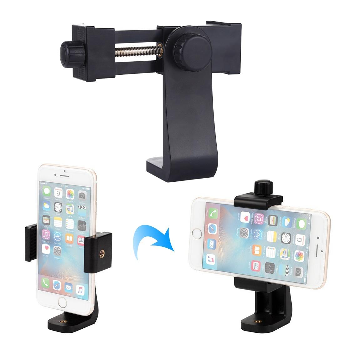Live Phone Clip Camera Tripod Horizontal Vertical Adjustable Clamp Stable Anti-fall Design black