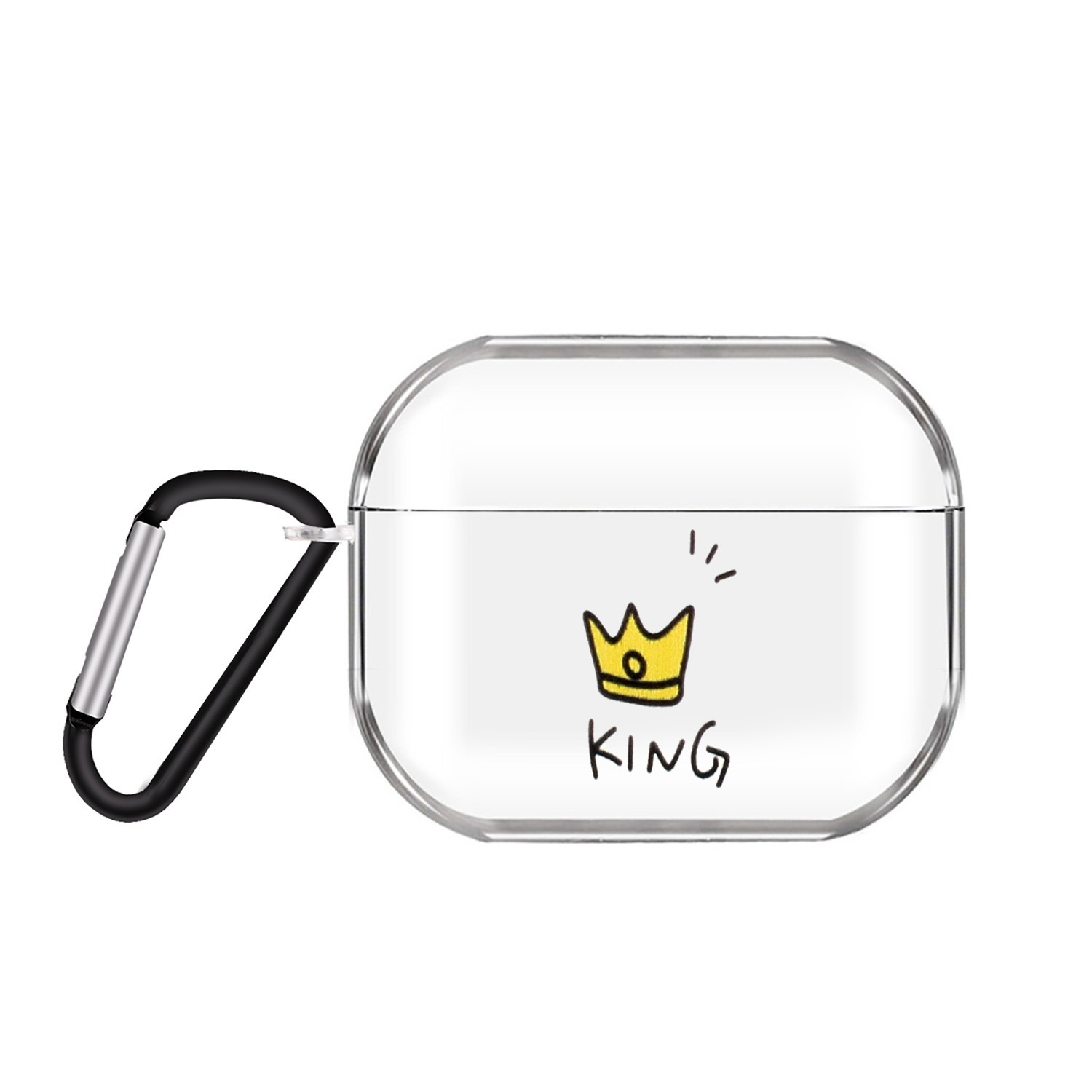 For AirPods Pro Headphones Case Cartoon Clear Earphone Shell with Metal Hook Full Protection Cover 11 crowns
