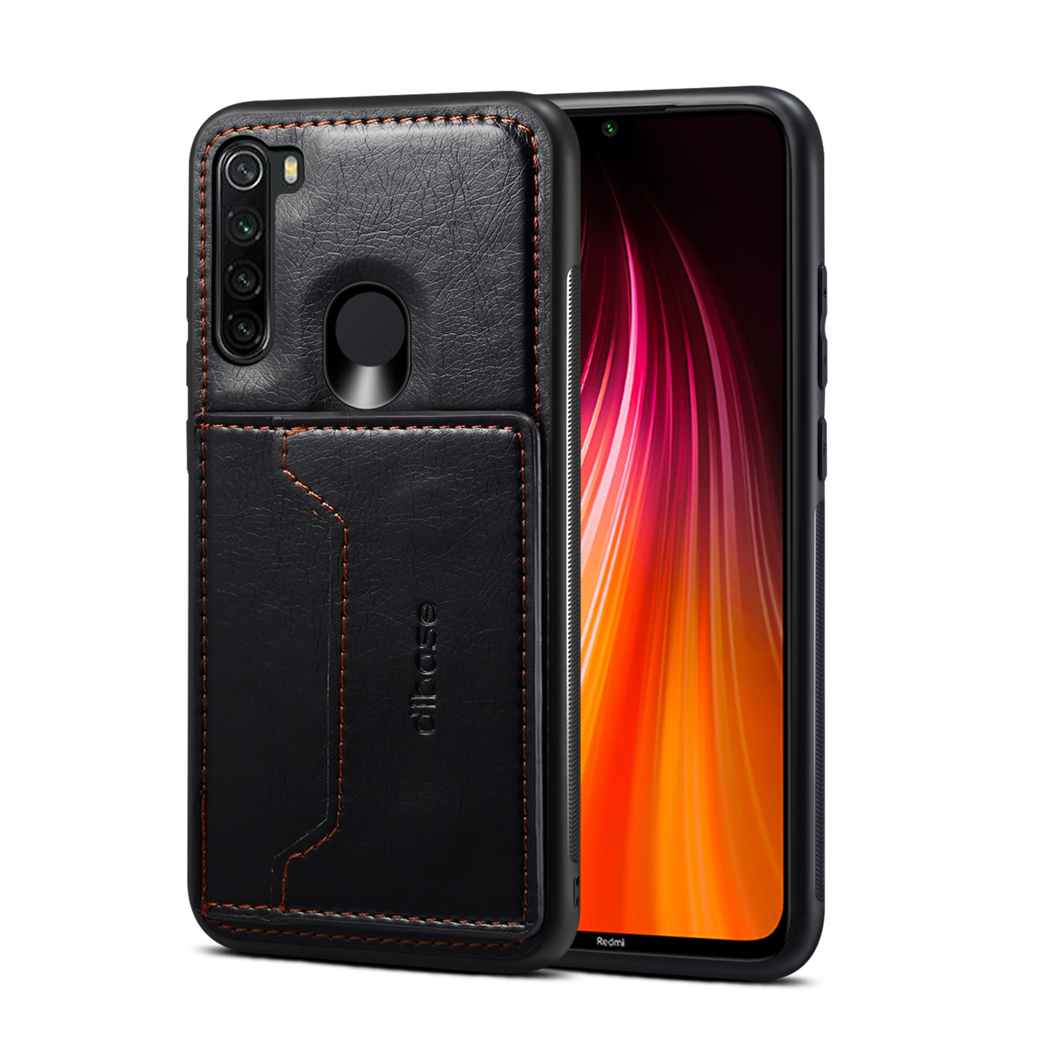 For Red Mi NOTE 8/8 Pro Cellphone Smart Shell 2-in-1 Textured PU Leather Card Holder Stand-viewing Overall Protection Case black