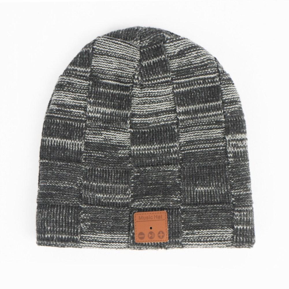 V5.0 Wireless Headset Bluetooth Call Music Stereo Knitting Plus Velvet Hat Beanie  Hemp gray