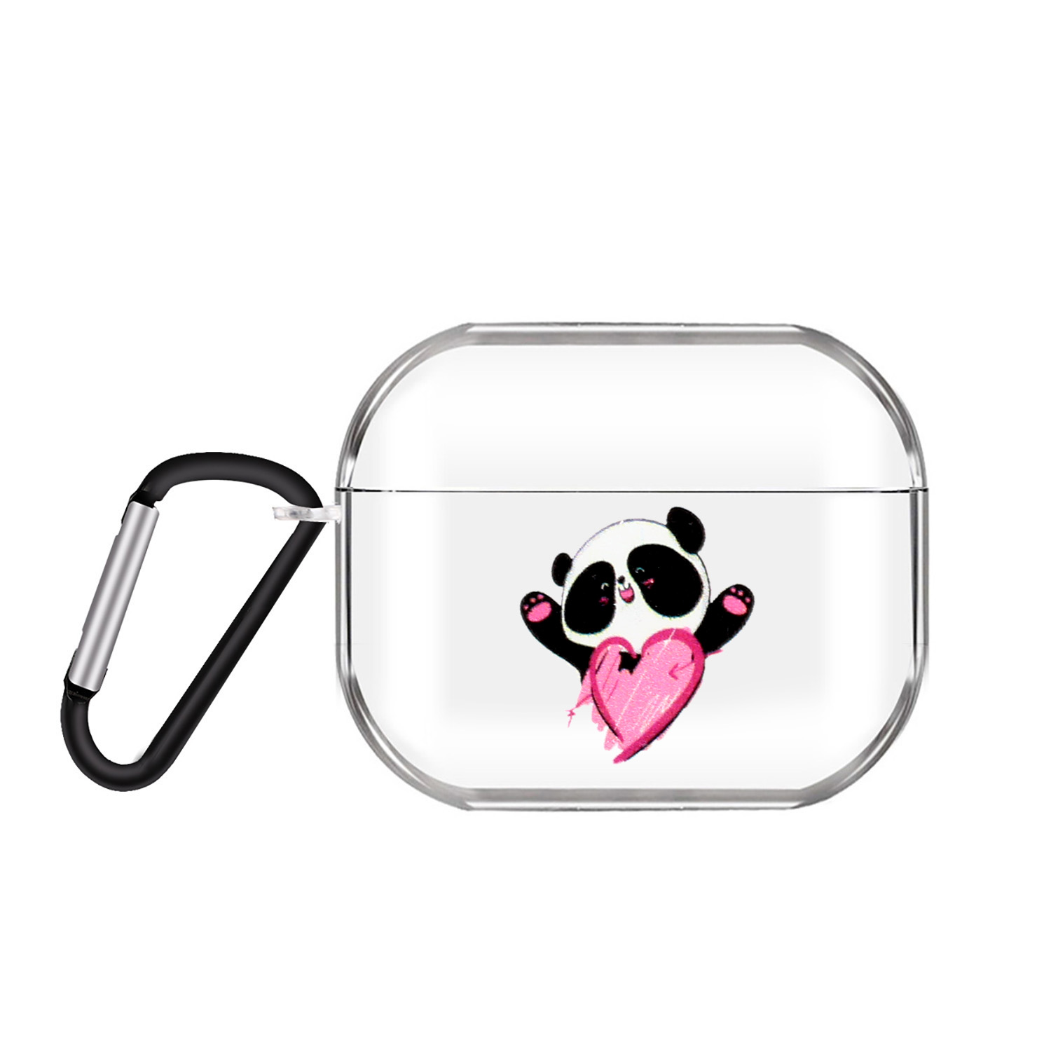 For AirPods Pro Headphones Case Transparent Earphone Shell with Metal Hook Overall Protection Cover 7 Love Pandas