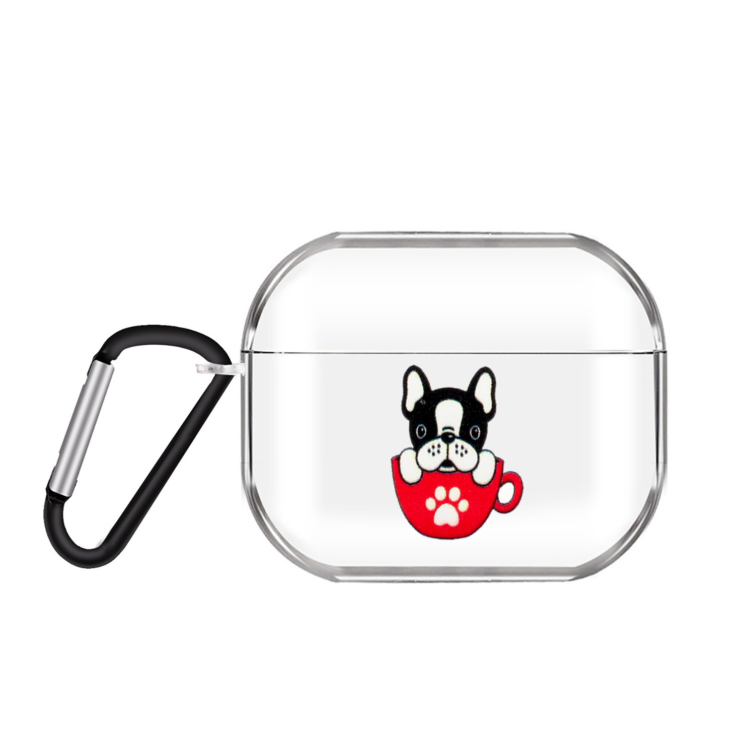 For AirPods Pro Headphones Case Transparent Earphone Shell with Metal Hook Overall Protection Cover 6 teacup cat