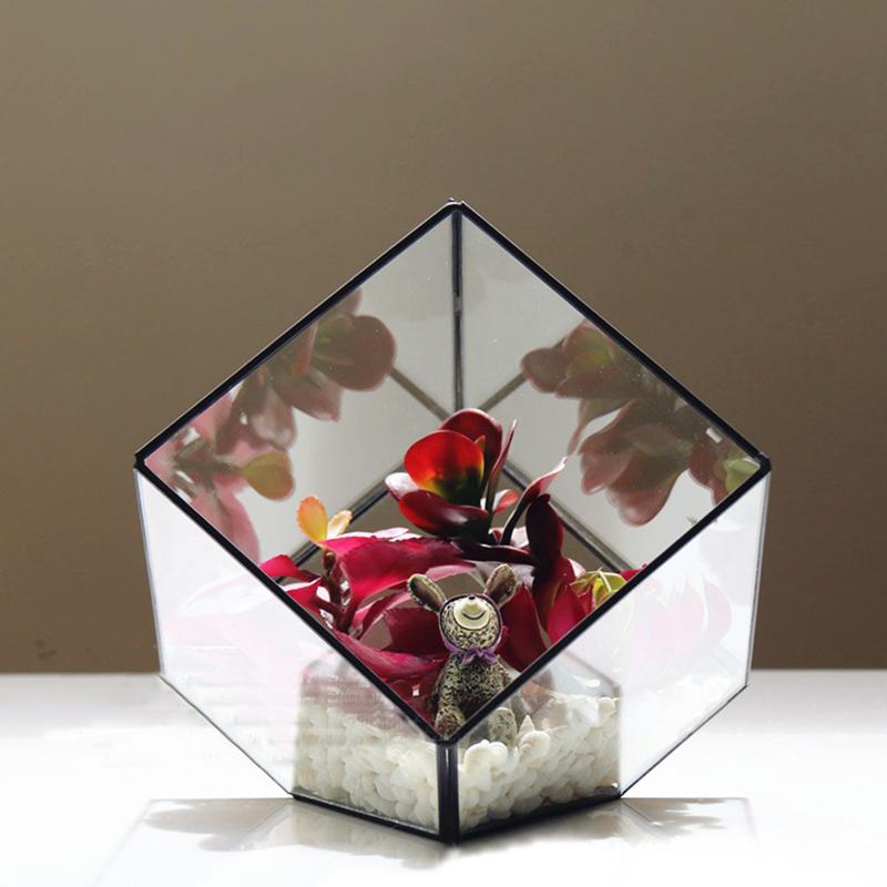 Modern Glass Geometric Terrarium Box Tabletop Succulent Plant Holder Planter Fern Moss Display Vase Pot
