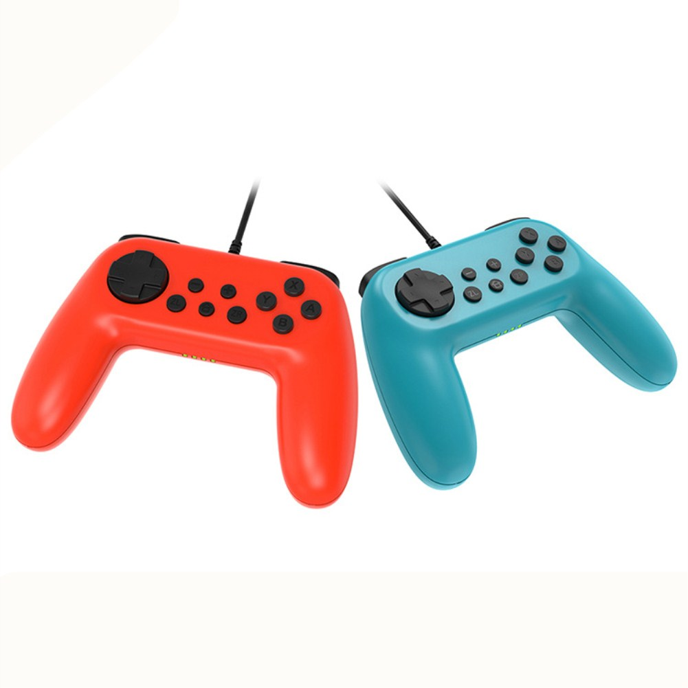 2Pcs Wired Game Controller for Switch NS Console with Vibration Function Red and blue