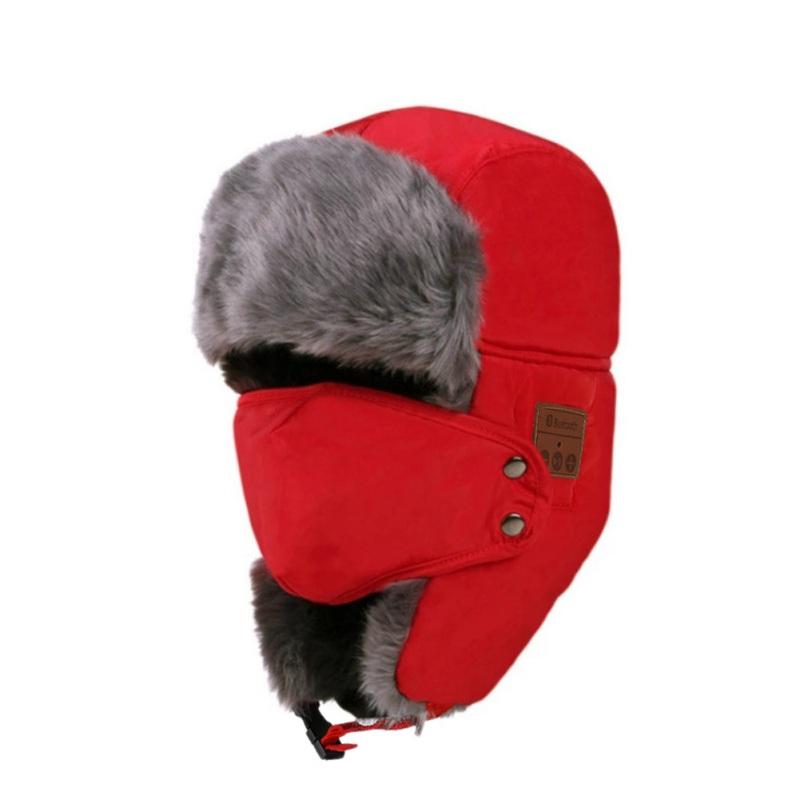 Unisex Women Men Cotton Winter Warm Bluetooth 5.0 Wireless Headset Cap Earphone Hat red