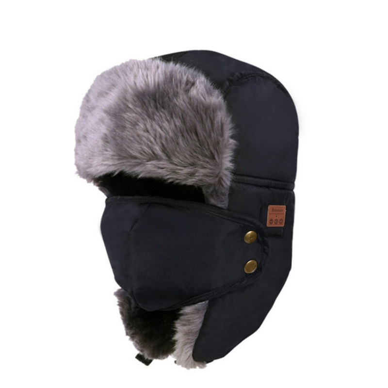 Unisex Women Men Cotton Winter Warm Bluetooth 5.0 Wireless Headset Cap Earphone Hat black
