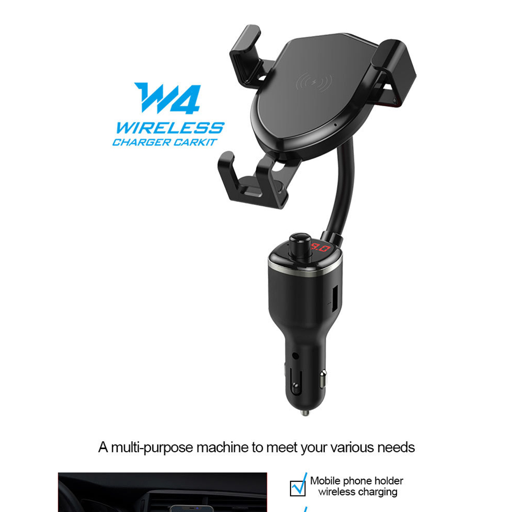 10W Wireless Quick Charging Mobile Phone Holder Stand with Fm Bluetooth Transmitter black