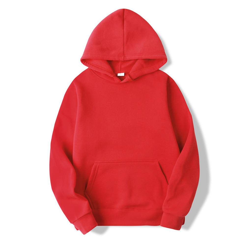 Men's Hoodie Autumn and Winter Loose Long-sleeve Velvet Solid Color Pullover Hooded Sweater red_L