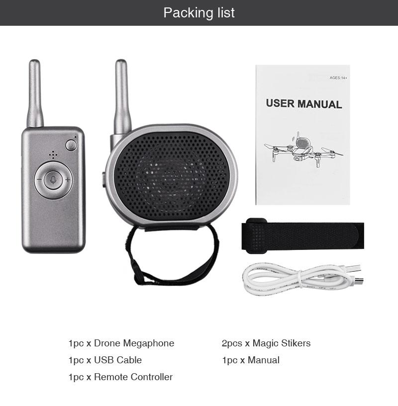 Wireless Walkie Talkie Wear-resistant Lightweight Drone Megaphone Silver grey