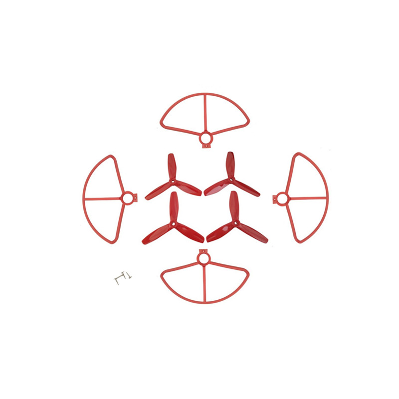 4Pcs Propeller + 4Pcs Protective Cover for MJX B5W F20 Bugs 5W Four-axis Aircraft Drone Protection Cover Paddle Spare red