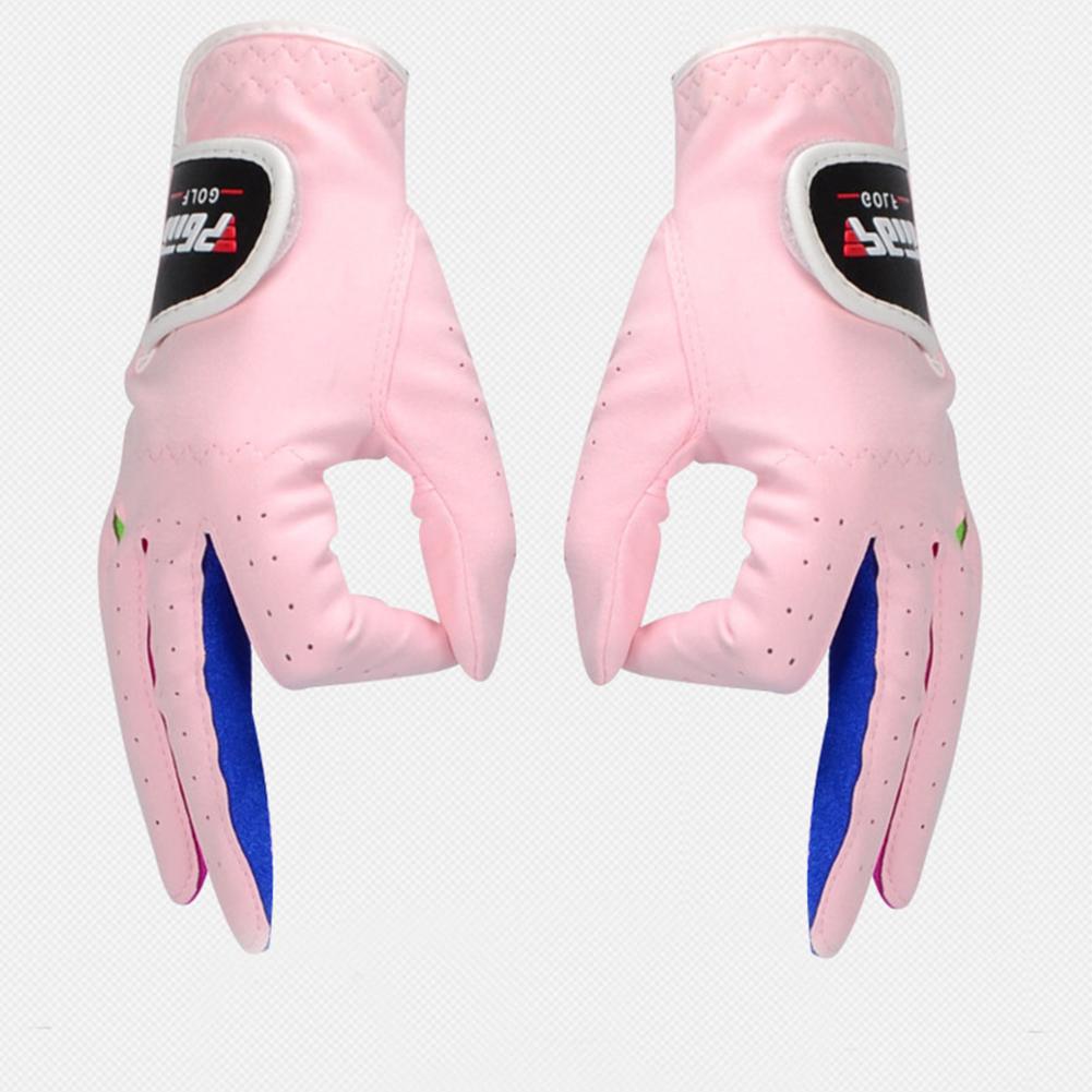 1pair Children Unisex Golf Gloves Breathable Left/Right Hand Anti-skid Glove Pink 14