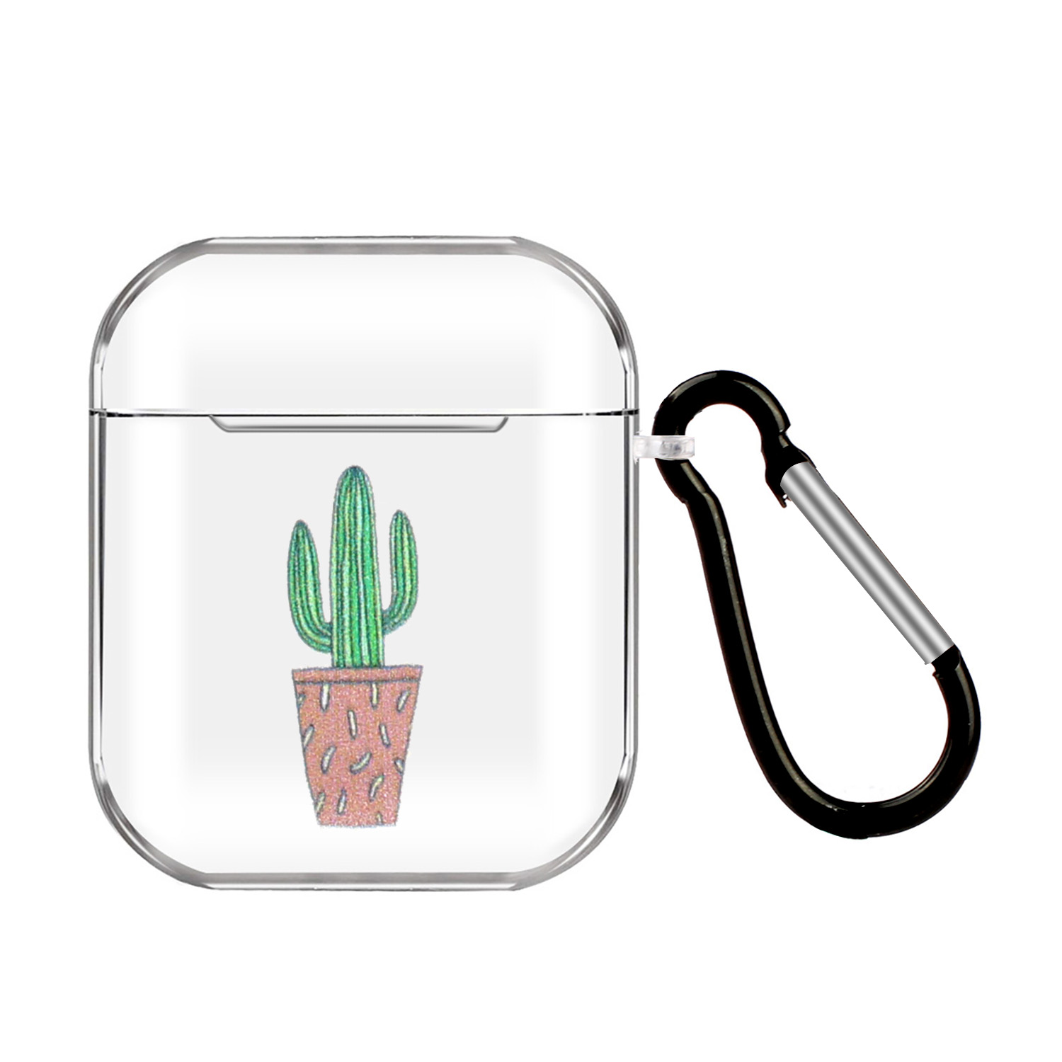For AirPods 1/2 Headphones Case Portable Clear Cute Earphone Shell with Metal Hook Overall Protection 8 cactus