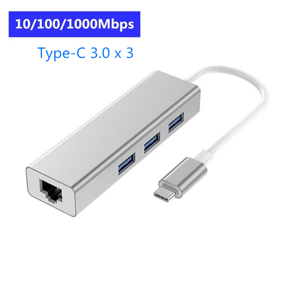 USB 3.0 HUB Multi Ports USB Type C Expansion Dock with RJ45 Adapter 4 Ports USB HUB