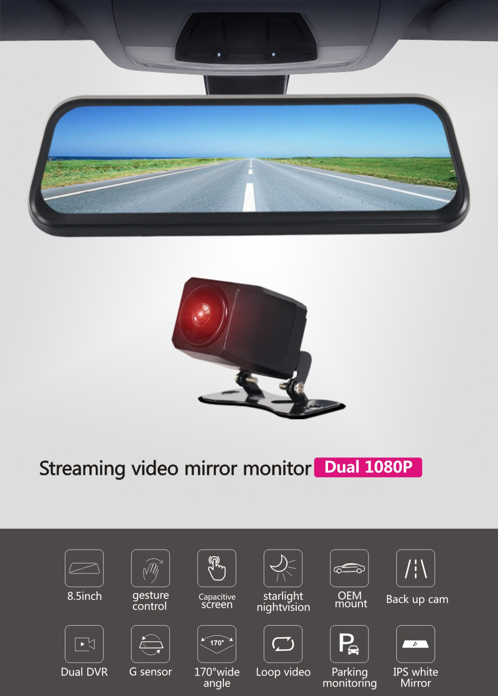 8.5-Inch Car DVR - Dual Camera, FHD Visuals, G-Sensor, 128GB SD Card Support, SD Card Recording, Wide Viewing Angle, for BMW