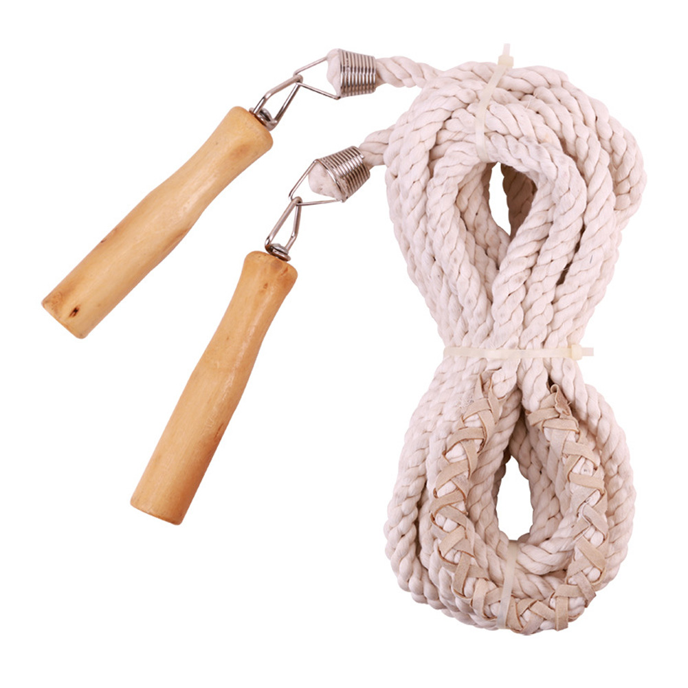 Cotton Linen Jump Rope Adjustable Single Team Skipping Rope for Fitnesss Exercise 7m