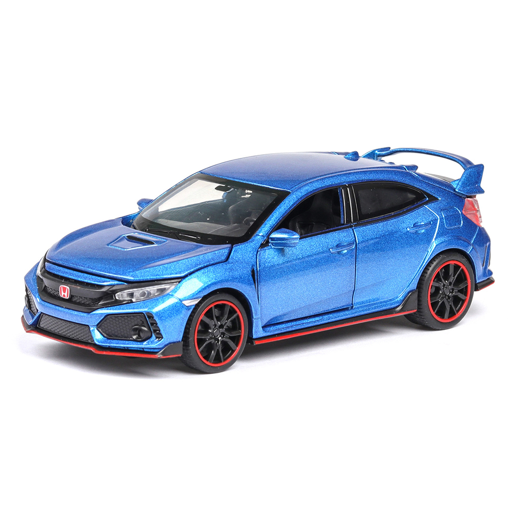 1:32 Pull Back Alloy Car Modeling Door Open Light Sound Toy for Civic TYPE Collection  blue
