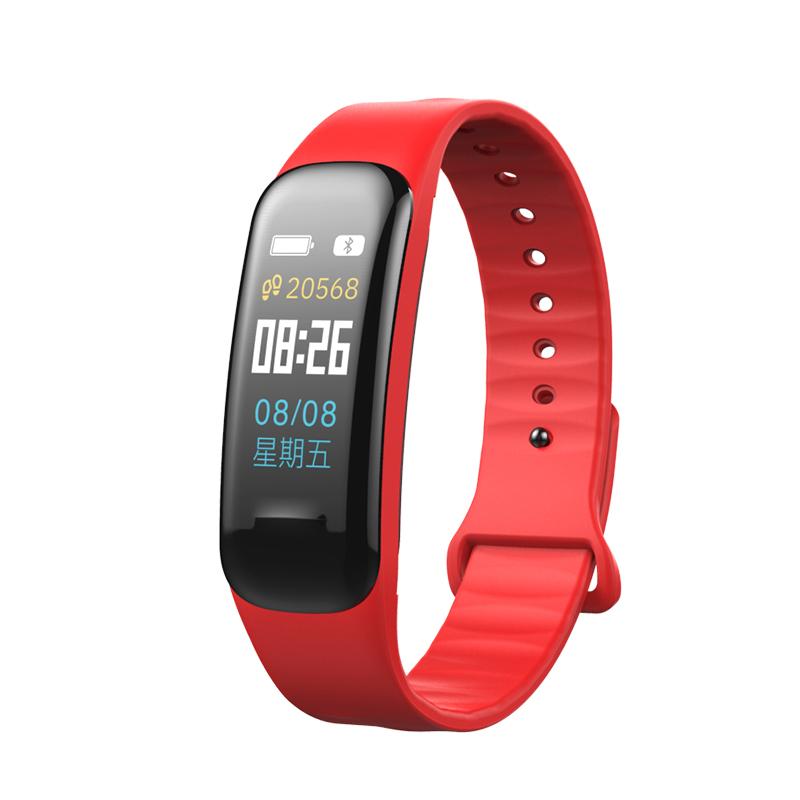 Fitness Bracelet C1S Smart Watch Waterproof Smart Bracelet Heart Rate Monitor Health Tracker bracelet red