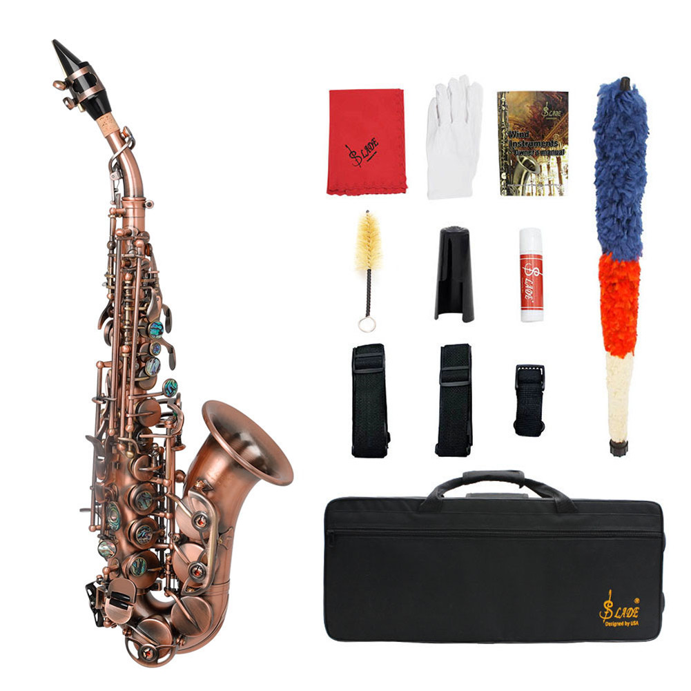 S97 Saxophone High Pitch Small Curved Tube Retro Style Soprano Sax Brass Musical Instrument with Cloth Case Red antique