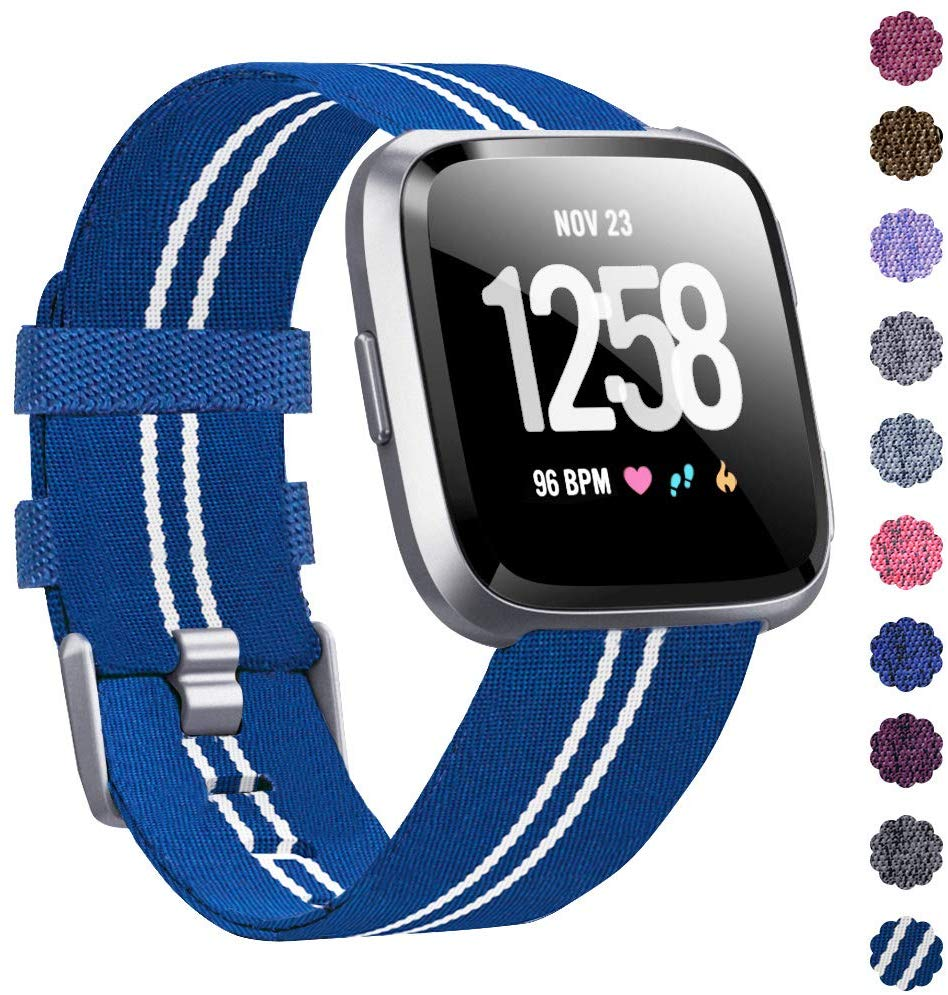 Woven Watch Band Compatible with Fitbit Versa/Fitbit Versa 2/Fitbit Versa Lite Edition Breathable Fabric Strap for Men Women Smartwatch blue stripes