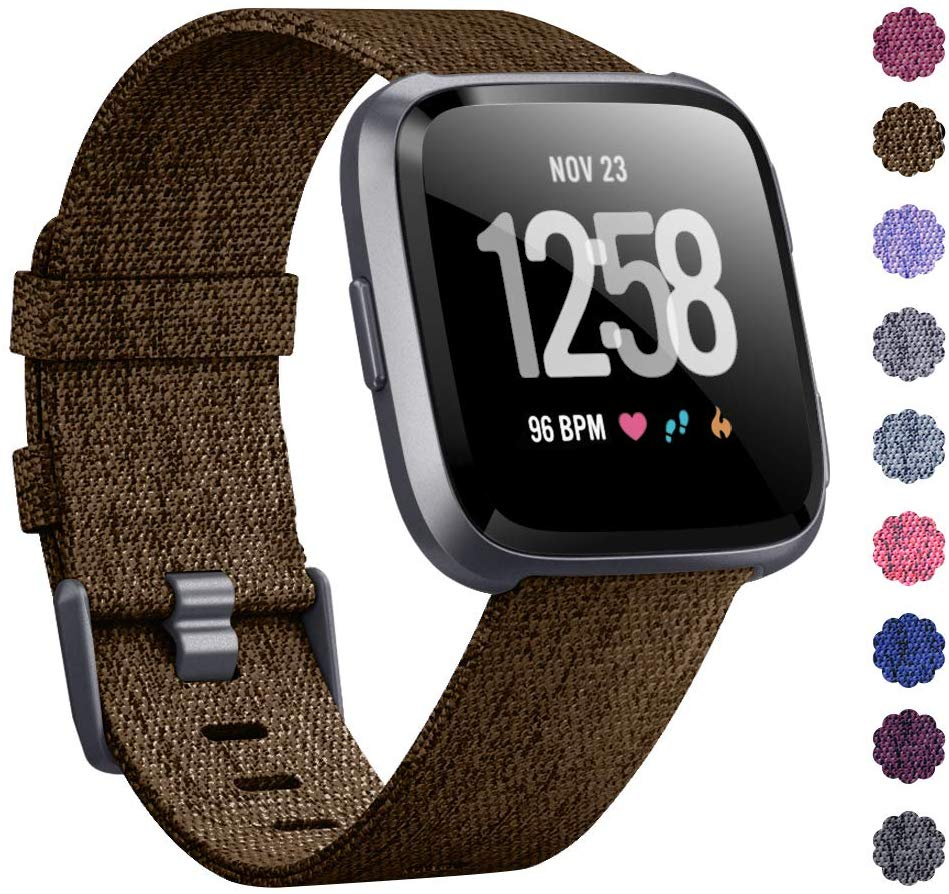 Woven Watch Band Compatible with Fitbit Versa/Fitbit Versa 2/Fitbit Versa Lite Edition Breathable Fabric Strap for Men Women Smartwatch brown