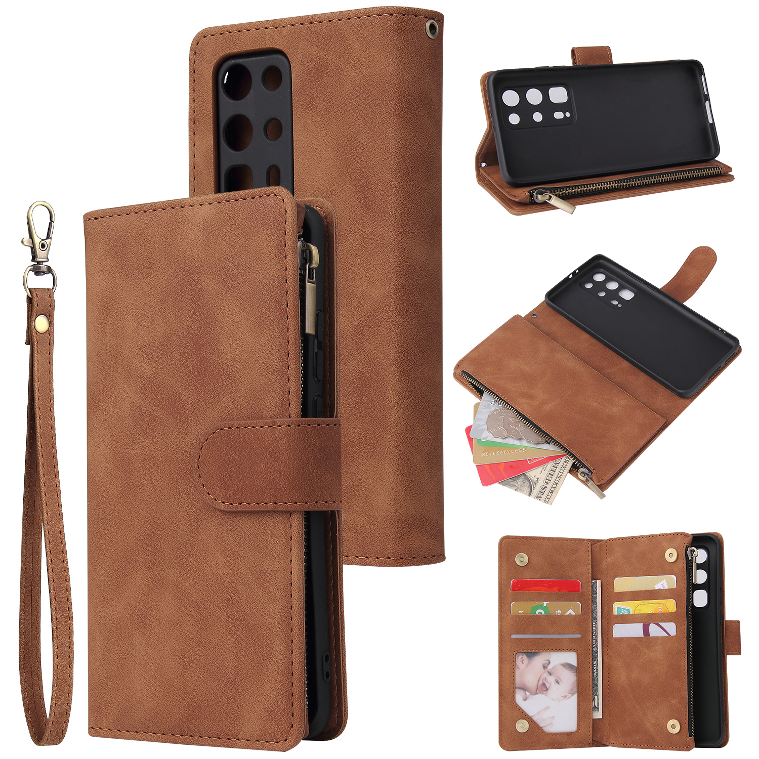 For HUAWEI P40 pro plus Zipper Purse Leather Mobile Phone Cover with Cards Slot Phone Bracket 4 brown