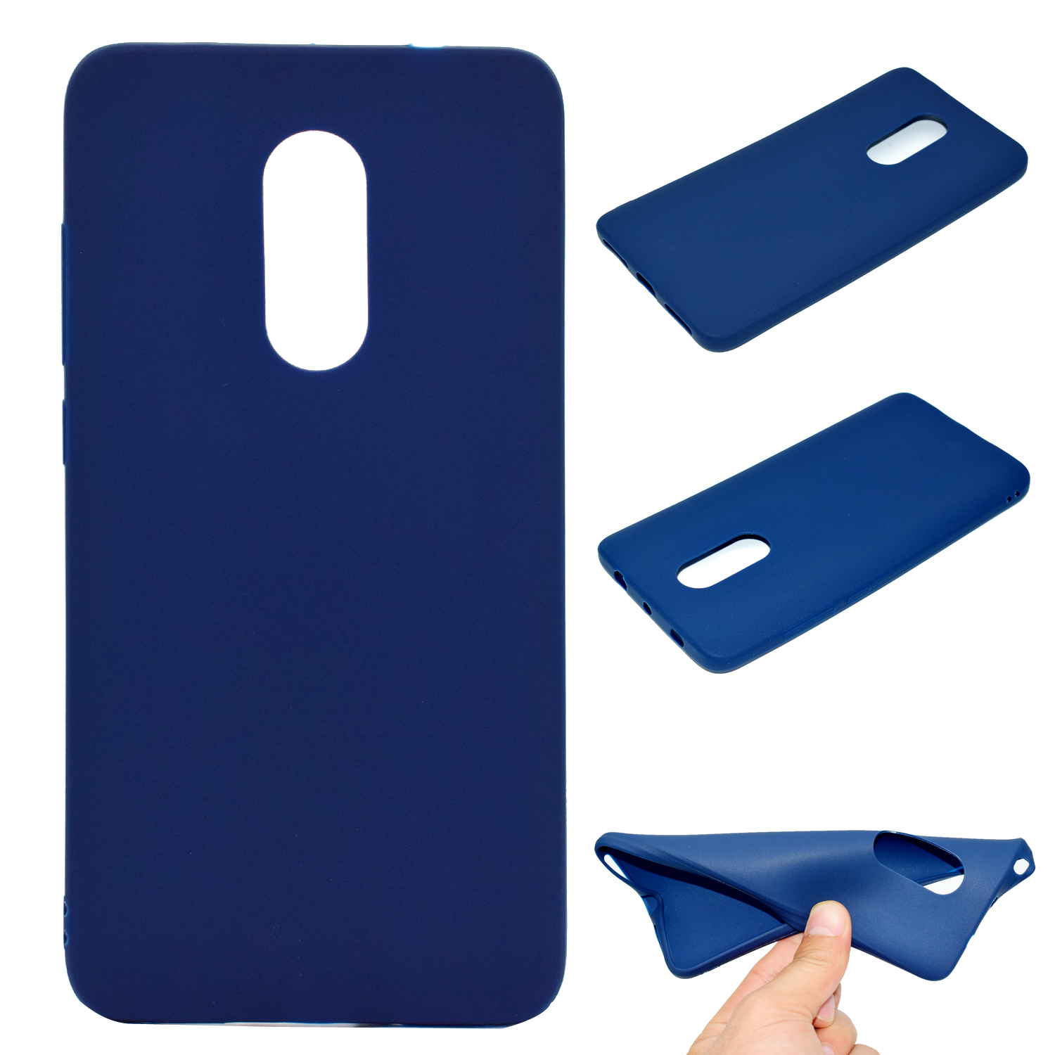 for XIAOMI Redmi NOTE 4X/NOTE 4 Lovely Candy Color Matte TPU Anti-scratch Non-slip Protective Cover Back Case Navy