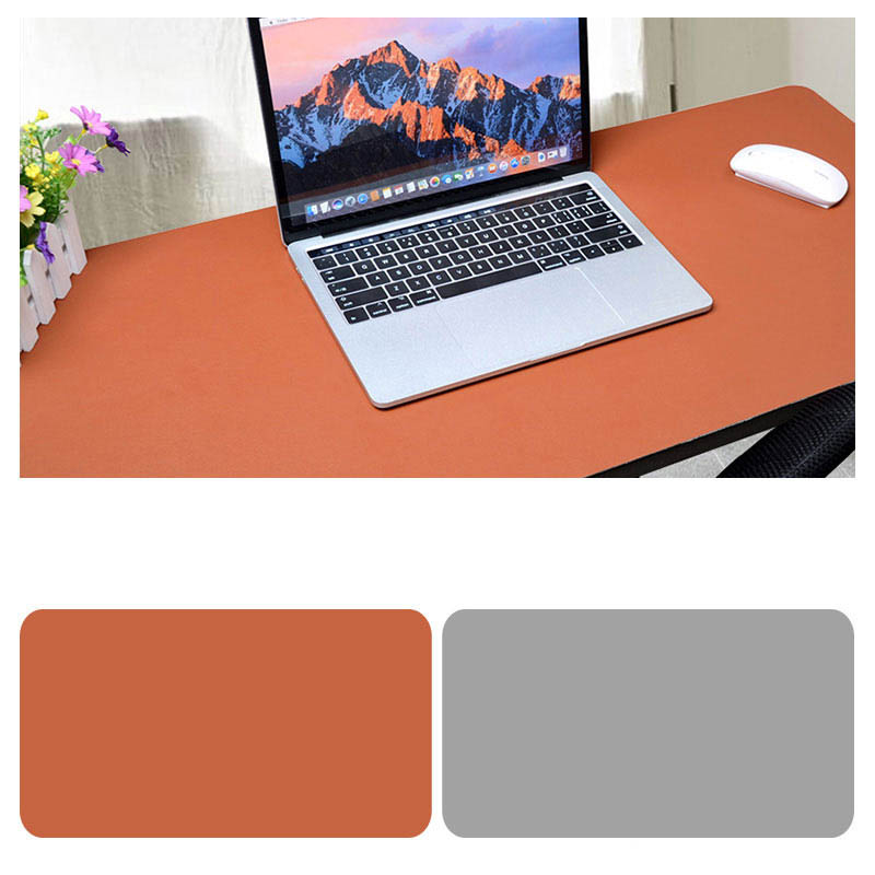 Double Sided Desk Mousepad Extended Waterproof Microfiber Gaming Keyboard Mouse Pad for Office Home School Brown + light gray_Size: 30x25