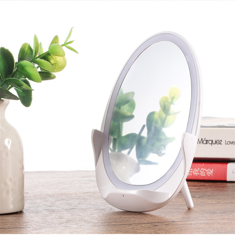 Phone Handlebar  Adapter Clamp Wireless Charger With Fill Light Mirror For Apple Samsung White