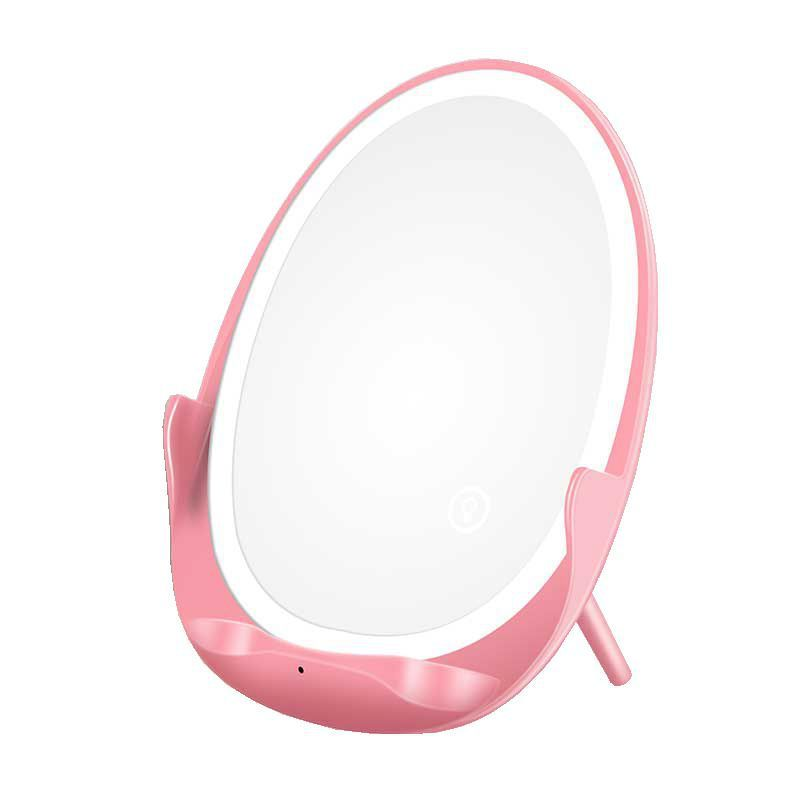 Phone Handlebar  Adapter Clamp Wireless Charger With Fill Light Mirror For Apple Samsung Pink